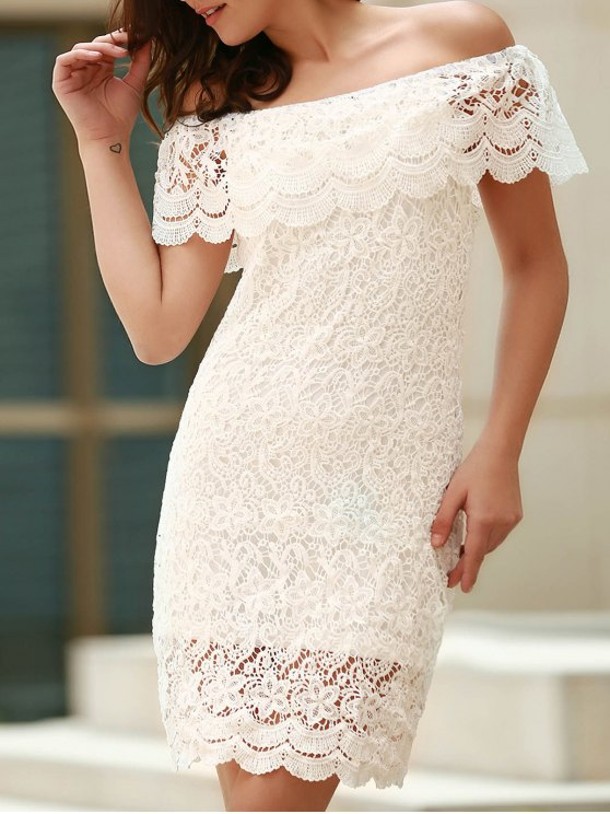 Off The Shoulder Flounce Ruffles Boat Neck Lace Dress - WHITE S Mobile