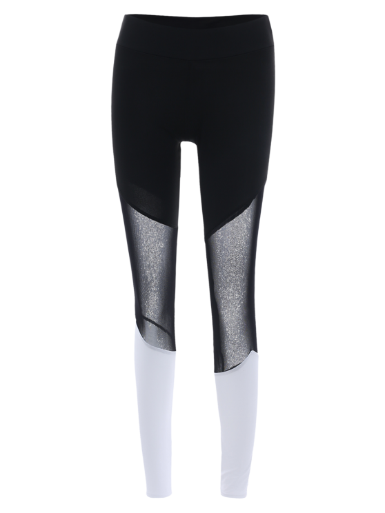Mesh Panel Tight Fit Leggings - WHITE L Mobile