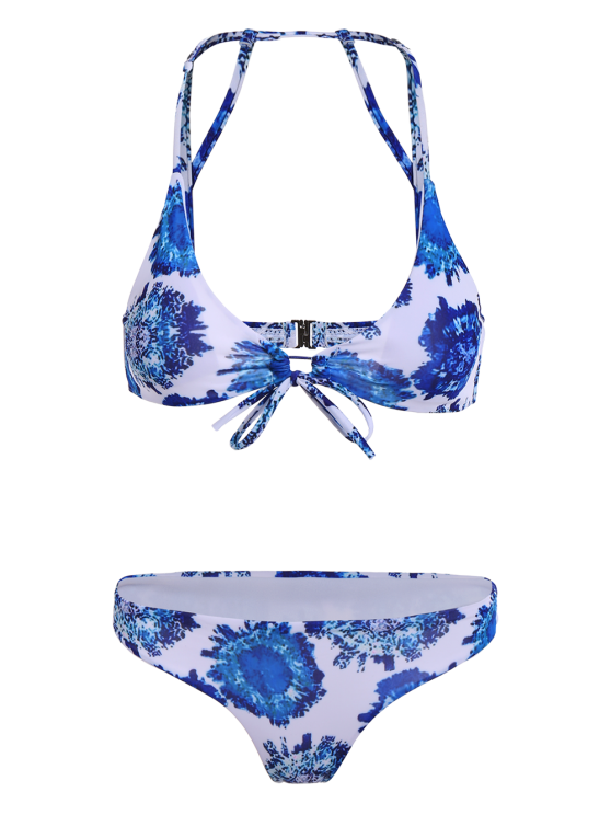 Printed String Strappy Bikini Set - BLUE XL Mobile