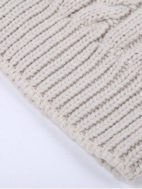Winter Stripy Cable Knit Pom Hat -   Mobile