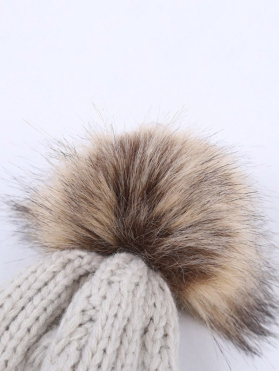 Winter Stripy Cable Knit Pom Hat -   Mobile
