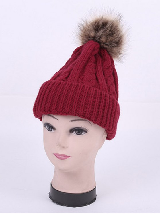 Winter Stripy Cable Knit Pom Hat - WINE RED  Mobile