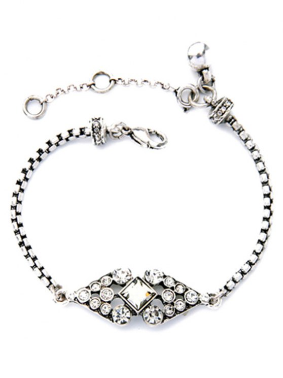 best Rhombus Rhinestone Bracelet - SILVER