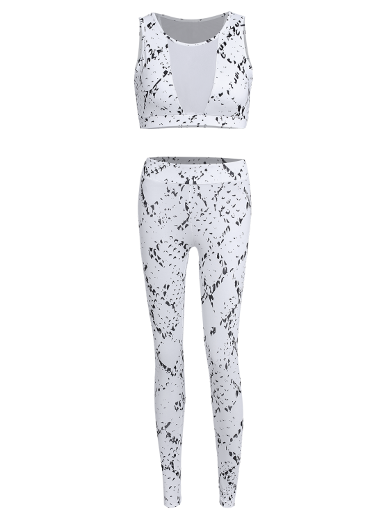 High Waist Mesh Spliced Skinny Sport Suit - WHITE L Mobile