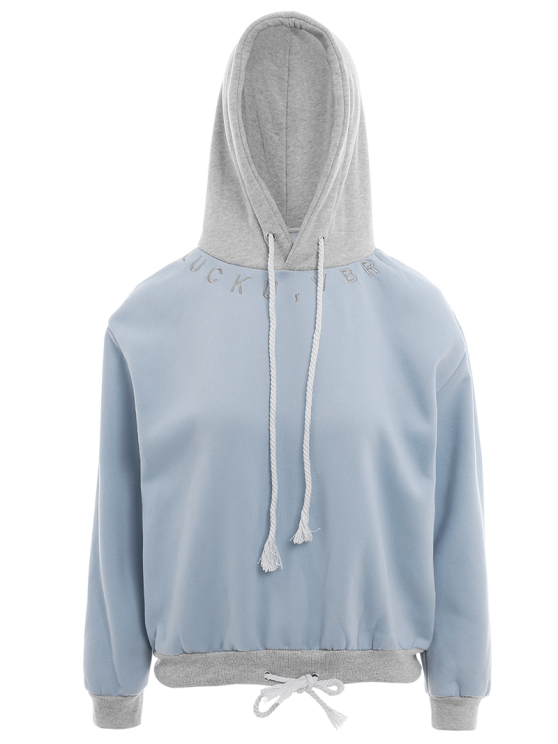 Bicolor Drawstring Pullover Hoodie - LIGHT BLUE ONE SIZE Mobile