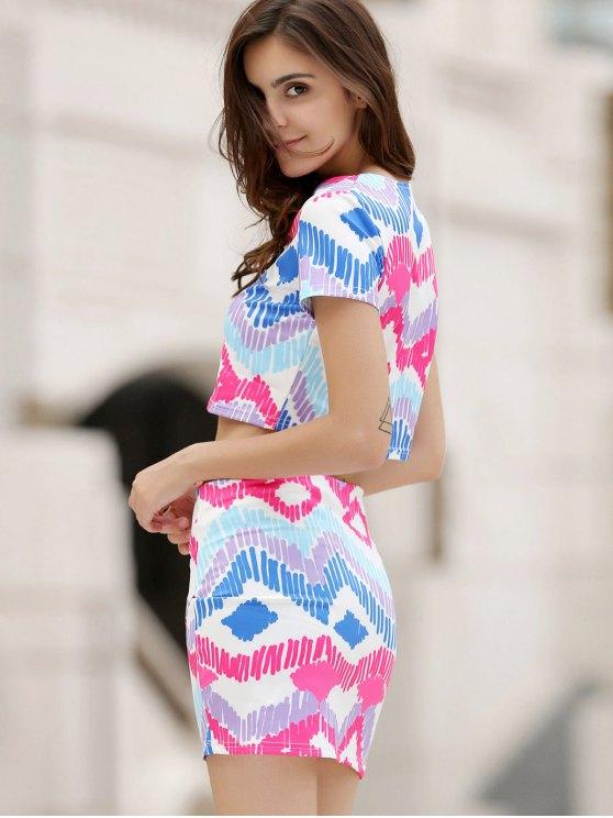 Argyle Print Short Sleeve Crop Top and Mini Skirt Suit - COLORMIX M Mobile