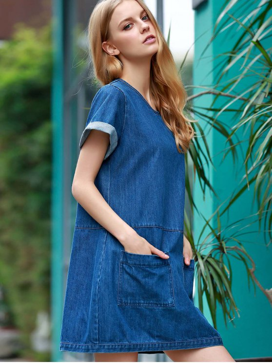 Hemming Double Pockets Round Neck Short Sleeve Denim Dress - BLUE L Mobile