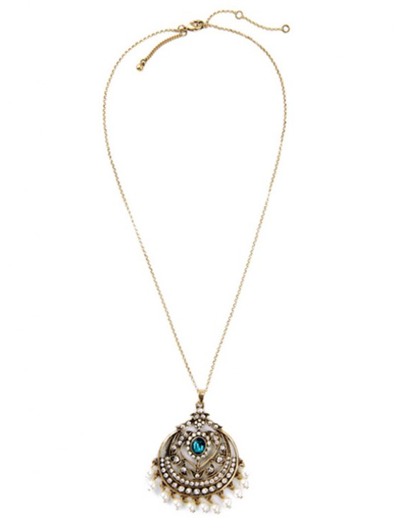 chic Retro Round Hollow Out Pendant Necklace - GOLDEN