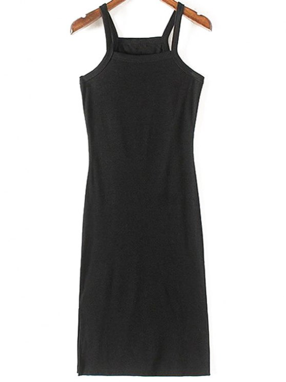 trendy Solid Color Side Slit Straps Sleeveless Dress - BLACK S