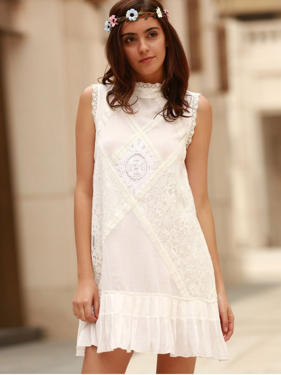 Lace Splice Round Neck Sleeveless Dress - WHITE L Mobile