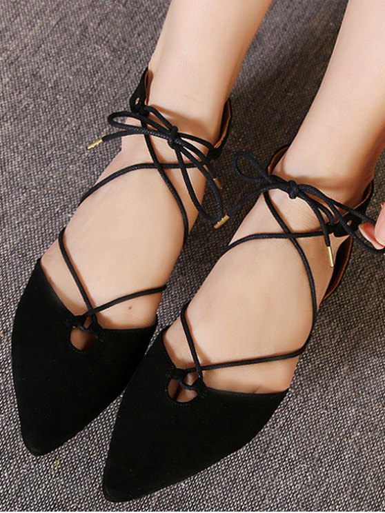 Lace-Up Pointed Toe Black Flat Shoes - BLACK 37 Mobile