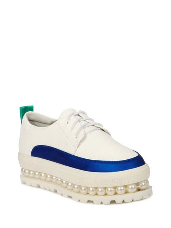 Imitación de la perla del bloque del color zapatos de la plataforma - Blanco 37