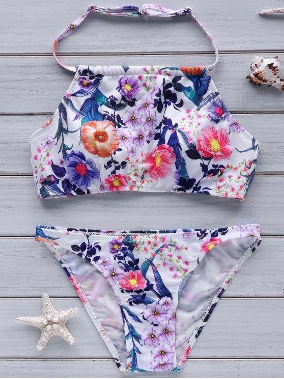Impresión de la flor de cuello alto Set Bikini - Colormix L