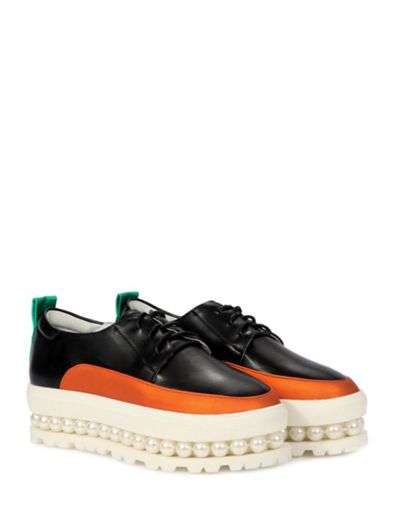 Faux Pearl Color Block Platform Shoes - BLACK 39 Mobile