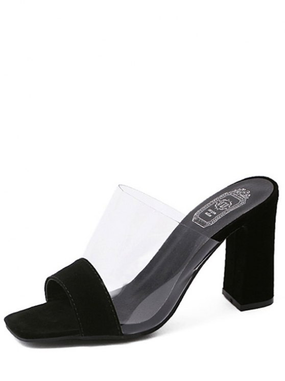 Transparent Splicing Chunky Heel Slippers - BLACK 40 Mobile