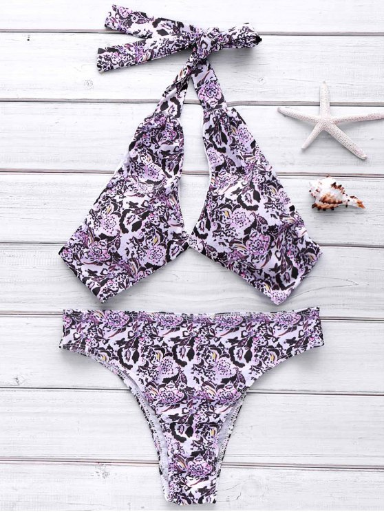 fashion Full Floral Halter Bikini Set - COLORMIX L