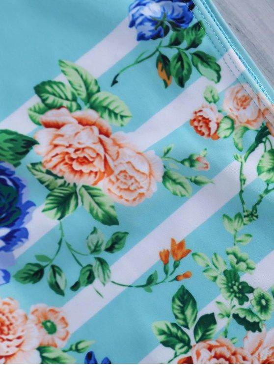 Floral Halter High Waist Bikini Set - COLORMIX L Mobile