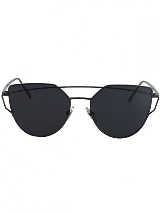 Metal Bar Black Frame Sunglasses - BLACK  Mobile