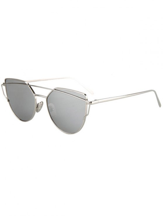 latest Metal Bar Silver Frame Sunglasses - SILVER