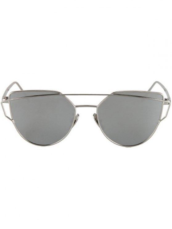 Metal Bar Silver Frame Sunglasses - SILVER  Mobile
