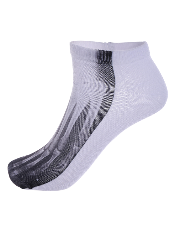One Side 3D Foot Skeleton Printed Crazy Ankle Socks - WHITE  Mobile