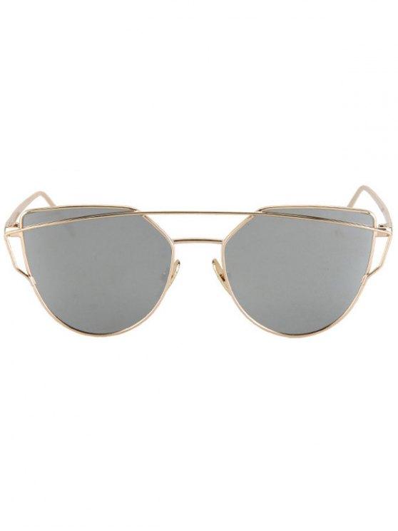 Metal Bar Golden Frame Pilot Sunglasses - SILVER  Mobile