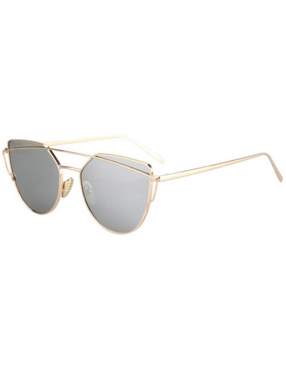 Metal Bar Golden Frame Pilot Gafas de sol - Plata