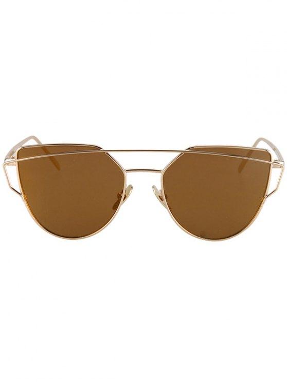 Metal Bar Golden Frame Pilot Sunglasses - BROWN  Mobile