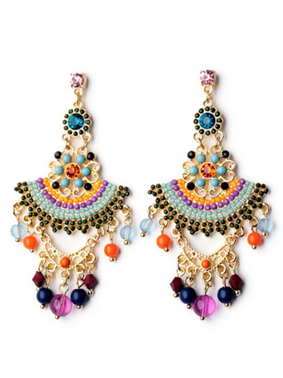 fancy Pair of Special Shape Beads Embellished Earrings - COLORMIX