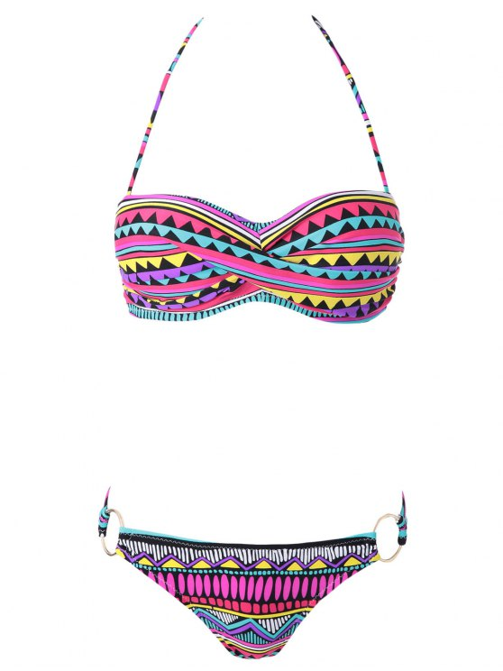 best Geometric Print Color Block Bikini Set - COLORMIX S