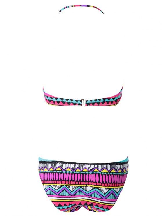 Geometric Print Color Block Bikini Set - COLORMIX S Mobile