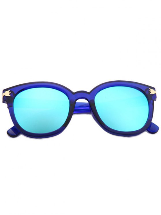 Metal Inlay Transparent Sunglasses - BLUE  Mobile