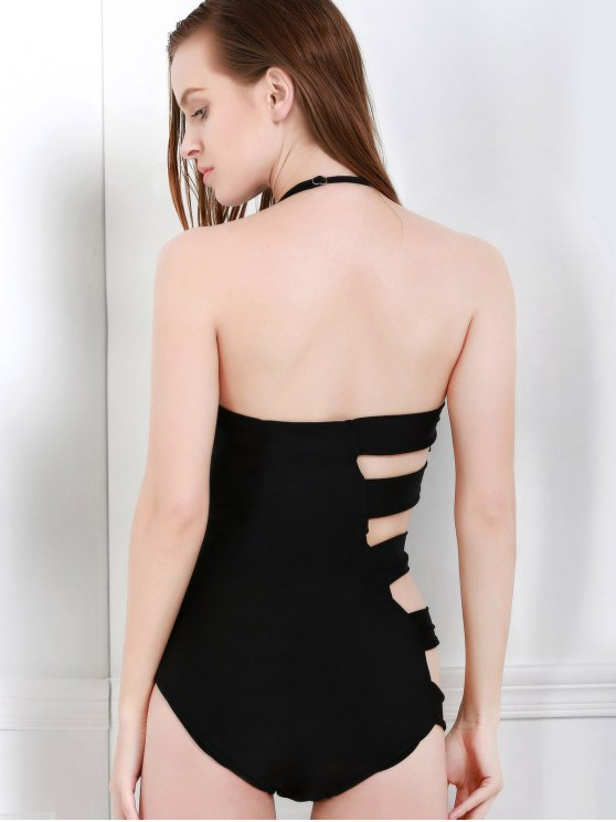 Bandeau Bandage One-Piece Swimwear - BLACK M Mobile