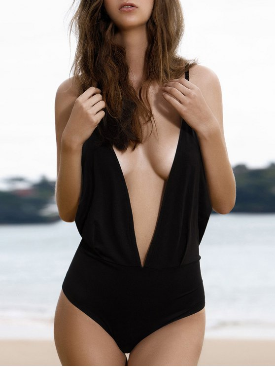 Plunge Backless One-Piece Swimwear - BLACK L Mobile