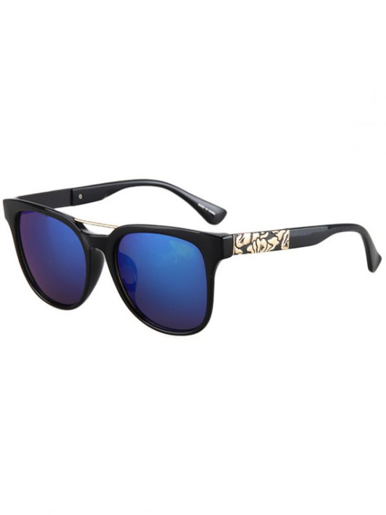 ladies Flower Shape Bulge Black Frame Sunglasses - DEEP BLUE
