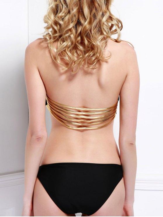 Metallic Strap Bandeau Bikini - BLACK M Mobile