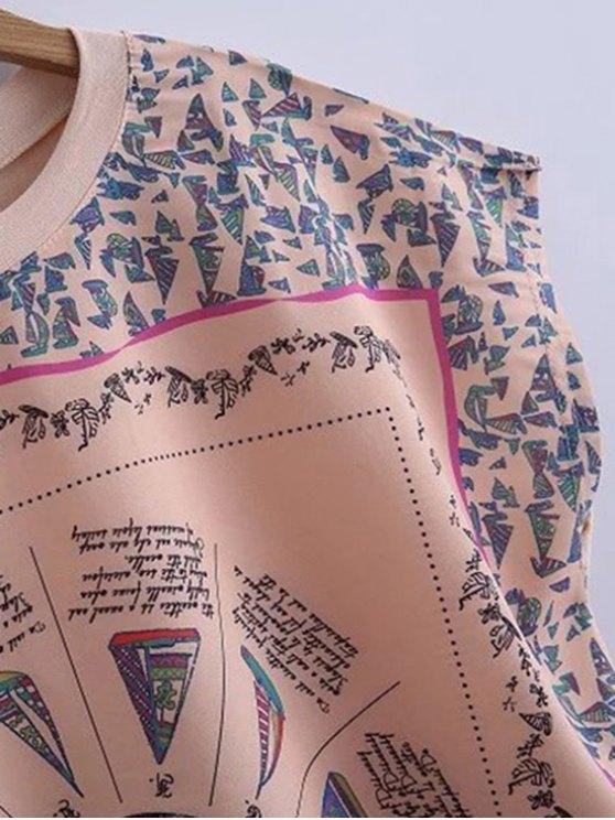 Printed Round Collar High-Low Hem T-Shirt - YELLOWISH PINK L Mobile