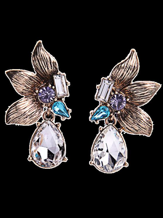sale Rhinestone Symmetric Flower Earrings - GOLDEN