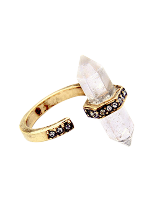 lady Rhinestone Etched Natural Stone Ring - GOLDEN