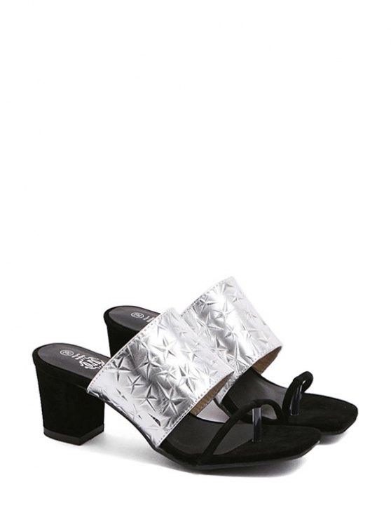 Color Block Chunky Heel Star Slippers - SILVER 38 Mobile