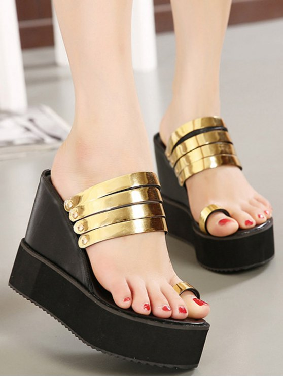 Toe Ring Platform Wedge Heel Slippers - GOLDEN 37 Mobile