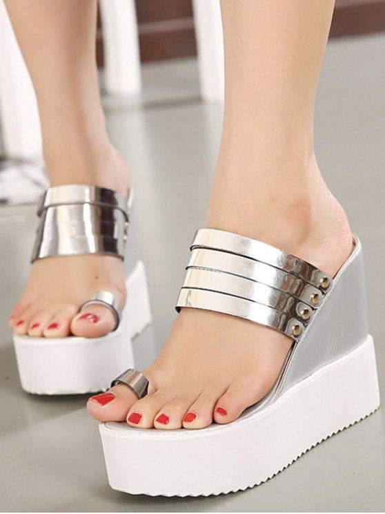 Toe Ring Platform Wedge Heel Slippers - SILVER 36 Mobile