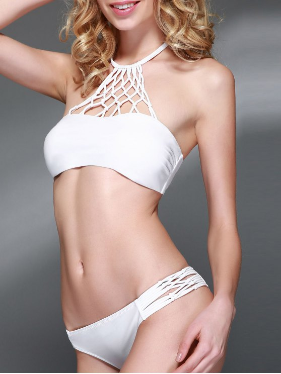 Openwork Halter Cut Out Bikini Set - WHITE S Mobile