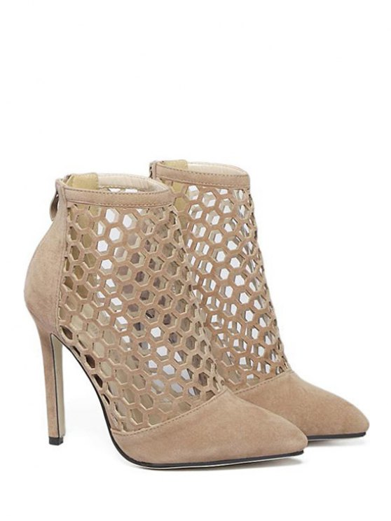 Openwork Pointed Toe Stiletto Heel Pumps - APRICOT 40 Mobile