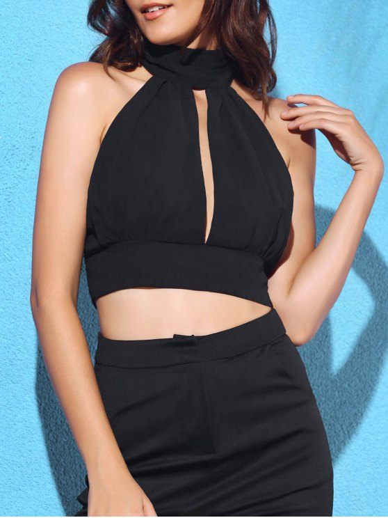 Backless évider col rond manches Crop Top - Noir XL