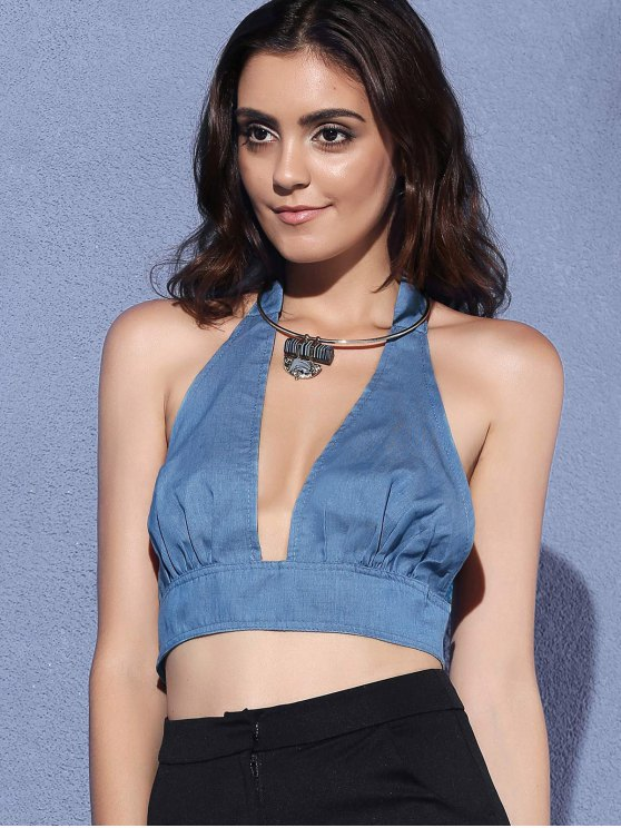 Backless Cut Out Halter Sleeveless Crop Top - BLUE L Mobile
