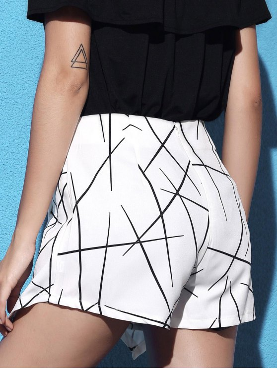 Striped Irregular Hem High Waist Shorts - WHITE M Mobile
