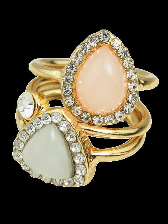 Faux Opal Rhinestone Water Drop Rings - GOLDEN ONE-SIZE Mobile