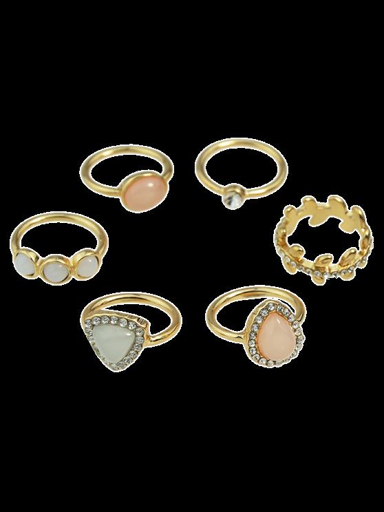 Faux ópalo Rhinestone de los anillos de la gota de agua - Dorado Uno de tamaño