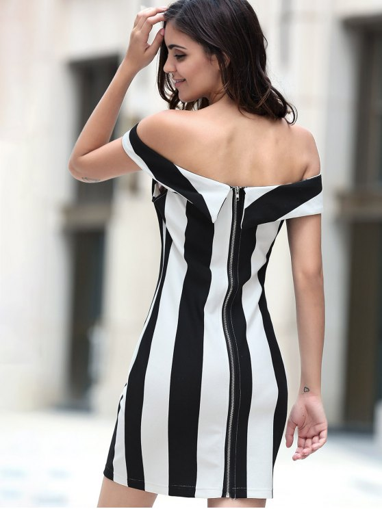 Fitted Striped Sleeveless Off The Shoulder Dress - WHITE AND BLACK L Mobile